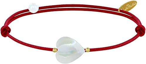 Les Poulettes Jewels - Bracelet Link Sweet Heart Mother of Pearl and Gold Plated Pearls - Classics
