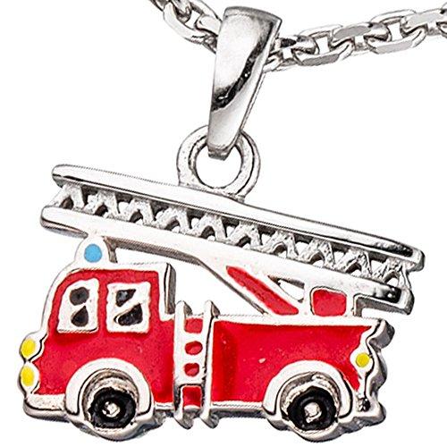 Colgante de bomberos rojo bomberos carro 925 de plata