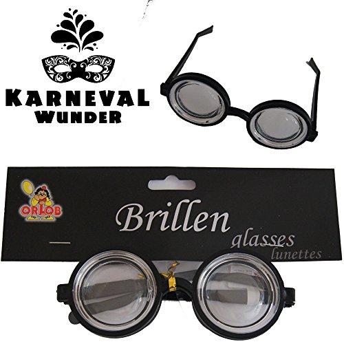 Doofi-Brille, schwarz mit dicken Gläsern