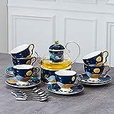 European Style Bone China Flower Tea Cup English Ceramic Glass Afternoon Tea Tea Set Candle Heating Fruit Teapot Set
