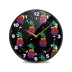 Promini Rainbow Color Pineapple Polka Dot Wooden Wall Clock 12inch Silent Battery Operated Non Ticking Wall Clock Vintage Wall Decor for Kitchen, Living Room, Bedroom, School, or Office