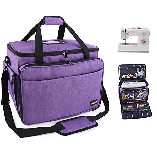 Suteck Sewing Machine Carrying Case, Universal Travel Tote Bag with Shoulder Strap & Multiple Storage Pockets, Compatible with Most Standard Singer, Brother, Janome Sew Machines, Purple
