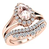 Morganite Engagement Ring - Wedding Ring Set for Women 14K Rose Gold 8 mm Pear Shape (Ring Size 6.5)