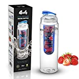 Basily Elite Infuser Water Bottle - 28 ounce - Made with Commercial Grade Tritan - PLUS Recipe Ebook INCLUDED (Blue), Blue