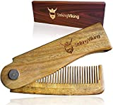 Striking Viking Folding Wooden Comb - Men's Hair, Beard and Mustache Styling Comb - Pocket Sized Sandal Wood Comb for Everyday Grooming, Use Dry or with Balms and Oils