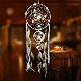 Emptystar Light Up Dream Catcher Decoration Warm White Bedroom Accessory with Warm LED String Lights Hanging Dream Catcher - White