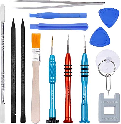 FOXPIG Electronics Opening Pry Tool Repair Kit with Metal Spudger Non-Abrasive Carbon Fiber Nylon Spudgers for Cellphone iPhone Laptops Tablets and More, 16 Piece