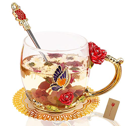 HOWAF Taza de Cristal de Esmalte Taza de té de Rosa Flores Tazas de café con Cuchara, Posavasos, Regalos para Mujer Mamá Cumpleaños Día de la Madre San Valentín Aniversario Bodas