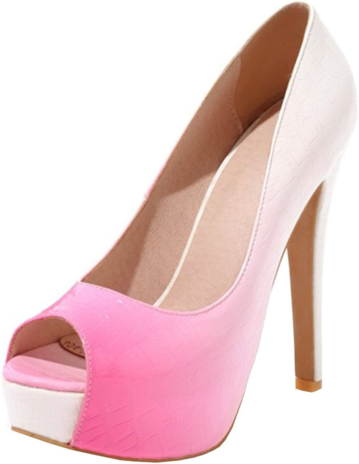 Agodor Women's Platform Extremely High Heels Pumps Peep Toe Stiletto Slip on Evening Party shoes