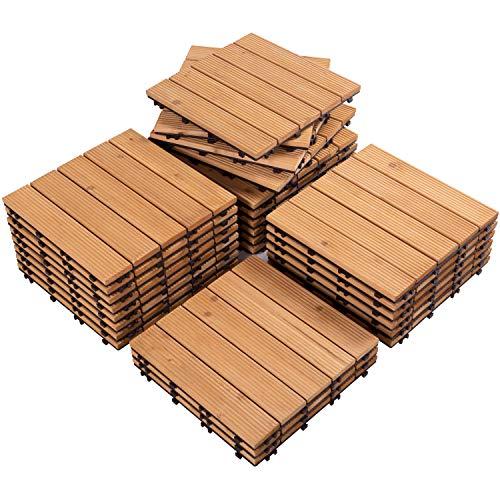 Yaheetech 27PCS Interlocking Patio Deck Tiles Outdoor Flooring for Patio Garden Deck Poolside Fir Wood Indoor Outdoor Natural Wood
