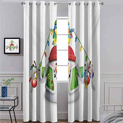 Snowman Soft Textured Curtains Room Window Treatment Set Cartoon Whimsical Character with Christmas Garland Blue Bird Various Xmas Elements Multicolor 52' W x 72' L