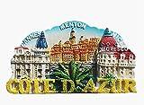 Cote d'Azur Cannes Menton Nice France 3D Imán para nevera Recogida de regalo de recuerdo para el hogar y la cocina Decoración magnética Imán para nevera