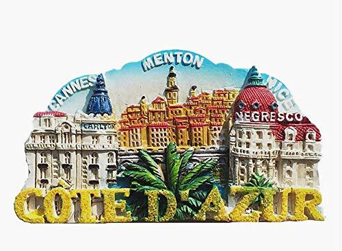 Cote d'Azur Cannes Menton Nice France Aimant de Réfrigérateur 3D Souvenir de Voyage Collection Cadeau Maison et Cuisine Décor Aimant Réfrigérateur