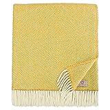 Linen & Cotton Lujo Manta Plaid de Sofá/Cama Alaska, 100% Lana Nueva Zelanda - 140 x 220cm (Amarillo Mostaza)