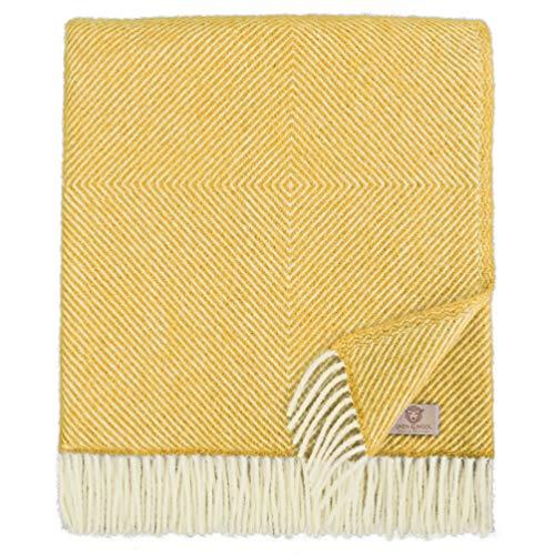 Linen & Cotton Cálida y Suave Grande Manta de Lana Alaska - 100% Pura Lana de Nueva Zelanda, Amarillo Mostaza (140 x 220 cm) Mantas de Invierno para Sofá Cama Individual Doble Edredón Colcha de Cama