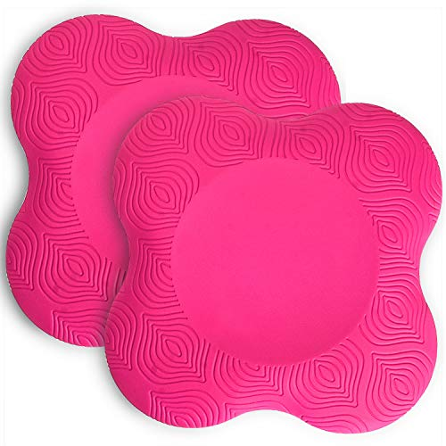 TOBWOLF 2PCS Yoga Ginocchiere Pad antiscivolo in schiuma Yoga ginocchiera Pad confortevole supporto yoga tappetino fitness equilibrio cuscino per proteggere ginocchia, caviglia, gomito, mano-rosa
