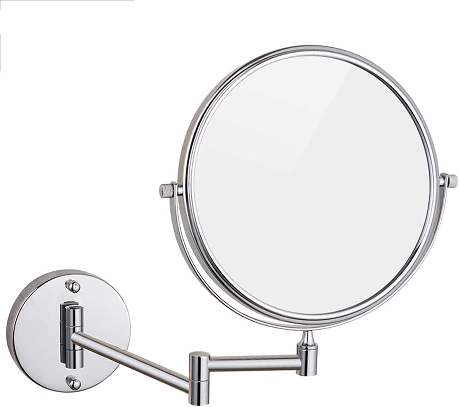 GUOWEI Mirror Wall-Mounted Bathroom HD Makeup Round Simple,2 Materials,2 Sizes (color   Silver-Steel, Size   Diameter -20cm)