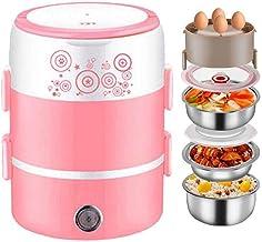 Multifunctionele rijstkoker 2L elektrische lunchbox,draagbare voedselverwarmer met 3 verwijderbare roestvrijstalen bakken ...