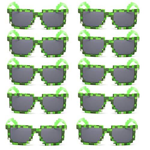 Kilofly 10pc 8-Bit Pixel ULTRAVIOLETA protege favores Gamer gafas de sol adultas de la fiesta de los niños para las chicas One Size Verde