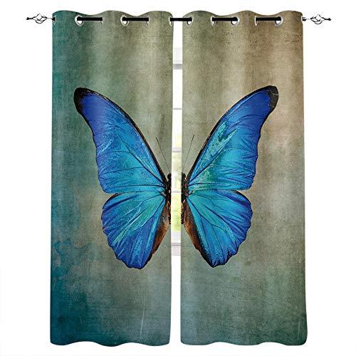 MXYHDZ Cortinas Salón Opacas - Azul Animal Mariposa Estilo - Impresión 3D Aislantes de Frío y Calor 90% Opacas Cortinas - 200 x 160 cm - Salon Cocina Habitacion Niño Moderna Decorativa