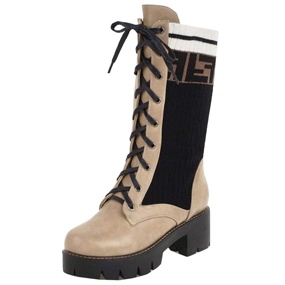 感謝祭膜ヘッジ[Unm] レディーズ ファッション チャンキーヒール ミッドカーフ ブーツ