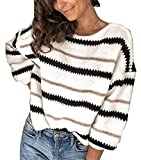 Women's Fashion Long Sleeve Striped Color Block Knitted Sweater Crew Neck Loose Pullover Jumper Tops (Narrow Striped White, Small)