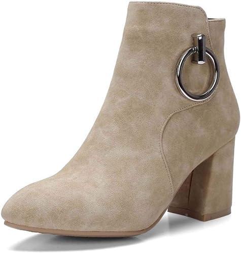 HYLFF Ladies Ankle Stiefel, damen Suede Pointed Stiefel Round Chunky Block Heel Stiefel Winter Stiefel Flat Stiefel Short Stiefel Ladies Chelsea Stiefel