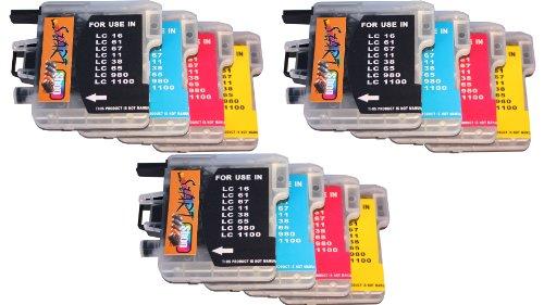 Start - 3 Sätze = 12 kompatible XXL Patronen zu LC-980 / LC-1100 - Schwarz, Cyan, Magenta, Gelb