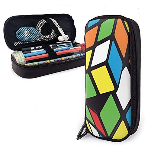 Twisting Spinning Rubix Cube Design Estuche para bolígrafos de gran capacidad Lápiz de cuero Estuche duradero Organizador Oficina escolar