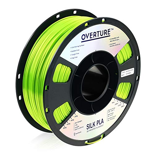 OVERTURE Silk Filament PLA 1.75mm Clog-Free Shiny 3D Printer Consumables, 1kg Spool (2.2lbs), Dimensional Accuracy +/- 0.05 mm, Silk Neon Green