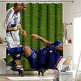 DRAGON VINES Rideau de douche avec crochet Imprimé 2006 Coupe du Monde Zidane pour décoration de la maison 66 x 72 pouces