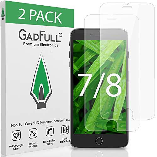 GadFull 2 Stück HD Displayschutzfolie aus Panzerglas für iPhone 7, iPhone 8 | Touchscreen-Schutzfolien für 3D-Handys
