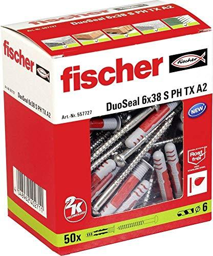 fischer DuoSeal 6 x 38 S, Universaldübel für Nassbereiche (50 Stk.) mit Schrauben, leistungsstarke 2-Komponenten-Dübel, abdichtender Kunststoffdübel zur Befestigung in Feuchträumen