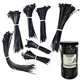 Electriduct Nylon Cable Tie Kit - 650 Zip Ties - Assorted Lengths 4', 6', 8', 11' - Black