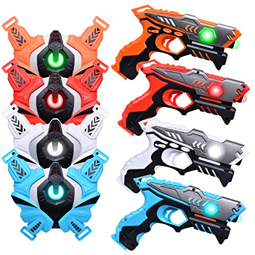 LUKAT Laser Tag Guns, Upgraded Version Ⅱ Infrared Laser Tag Guns with Vests 4 Pack for Kids Adults Indoor Outdoor Group Activity Battle, Best Christmas and Birthday Gift for Kids Age 6+