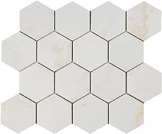Diflart New Calacatta Gold 3 Inch Hexagon Marble Mosaic Tile Calacatta Pindos Polished, 5 Sheets/Box (Hexagon 3