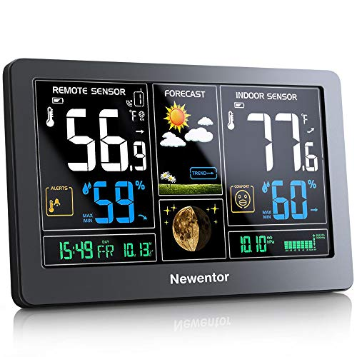 Newentor Weather Station Wireless Indoor Outdoor Thermometer, Color...