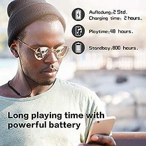 gorsun Bluetooth 5.0 Headphones, IPX5 Waterproof Sport Earphones, Magnetic in-Ear Wireless Earbuds,48 Hours Playtime Sports Microphone with Microphone