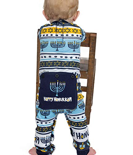 LazyOne Flapjack, Matching One-Piece Pajamas with Drop Seat, Baby and Toddler (Hannukkah, 12 Months)