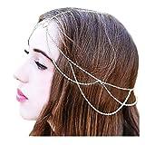 Drecode Boho Fashion Layered Head Chains Dainty Tassel Headband Jewelry for Women and Girls (Silver)