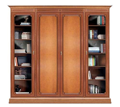 Arteferretto Möbelwand aus Holz mit Glastüren, Einrichtung im Stil für Wohnzimmer/Flur/Büro, Anbau-Möbel Schrank/Vitrine, Einrichtung im Stil: Farbe: Kirschholz patiniert, B23,5xT34,5xH195 cm