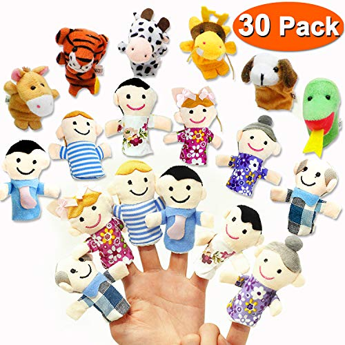 30 PCS Finger Puppet Toys, Plush Animal Finger Puppets Animal Zoo Family Finger Puppets Velvet Role Playing Toys Story Time Puppets Gift for Kids Toddlers Party Game Prizes, Easter Basket Stuffers