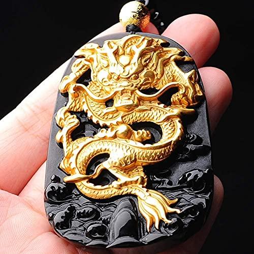 ZHIRCEKE Dragon Natural Obsidian Necklace Colgante de Oro Curación de la Etiqueta de la Etiqueta de la joyería para el Aniversario del cumpleaños Regalo