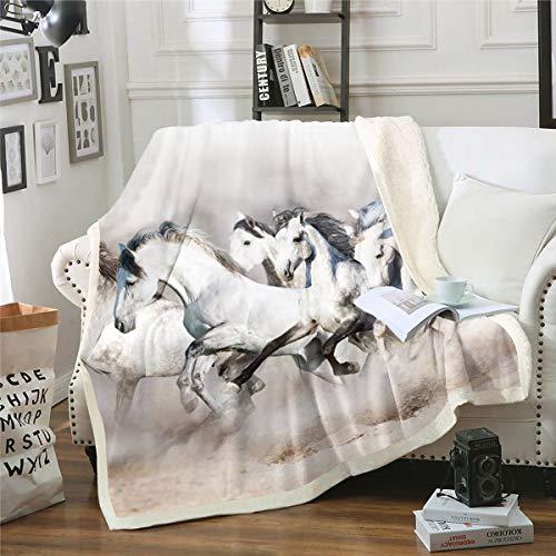 Homemissing Manta de forro polar de caballo blanco para niños y niñas 3D Running Steed Felpa manta estilo vida silvestre granja para sofá cama, bebé 30 x 40 pulgadas