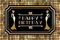 新しい7x5ftブラックとゴールドの誕生日の背景女性Msロングスカート写真の背景キッズ子供レディ女性の肖像画デザートテーブルルーム装飾画像booth小道具デジタル壁紙
