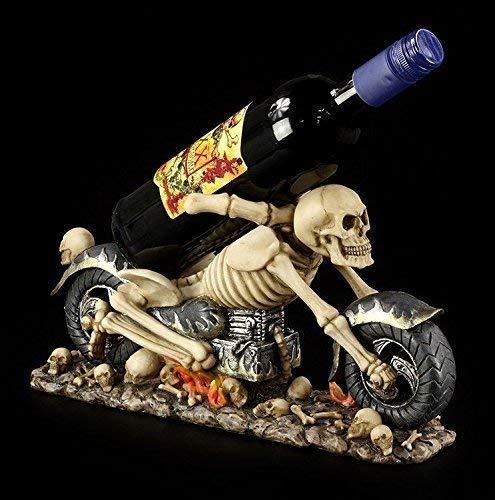 Skelett Motorrad als Flaschenhalter | Figur Totenkopf Weinhalter