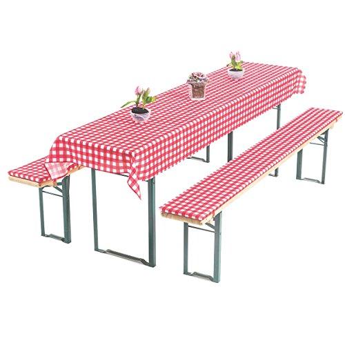 Gräfenstayn, set di imbottiture Annabelle, per i mobili da birreria, con 3 cuscini, larghezza del tavolo di 70 o di 50 cm, con certificazione Öko-Tex Standard 100