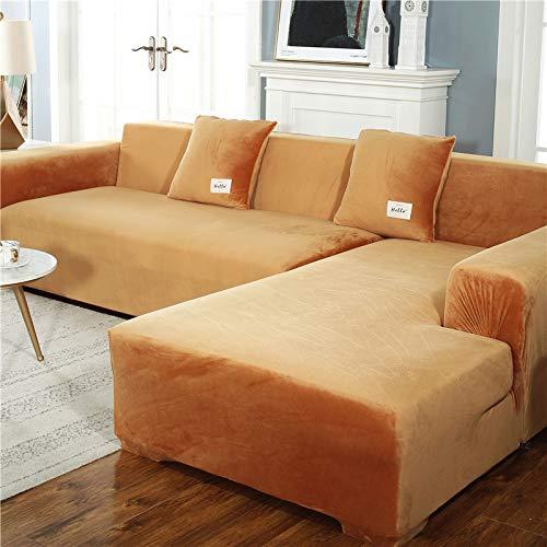OKJK Verdickte Plüsch sofabezug, mit Kissenbezug für Wohnzimmer L-Form Chaiselongue-Sofa (2 Stück zu bestellen), elastische rutschfeste sofaüberwurf (Golden...