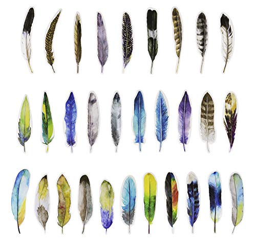 Penta Angel Vintage Feather Bookmarks 30 Pieces Different Feather Shaped Paper Bookmarks Colorful Cute Book Markers for Women Men Adult Kids Reading (Paper Feather)