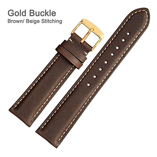 Genuine Leather Watch Strap 14mm 16mm 18mm 19mm 20mm 21mm 22mm 24mm Replacement Watch Bands for Women Men Wristwatch-Gold-Dark Brown-B-19mm